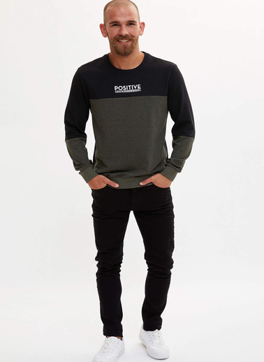 DeFacto Baskılı Slim Fit Sweatshirt Haki